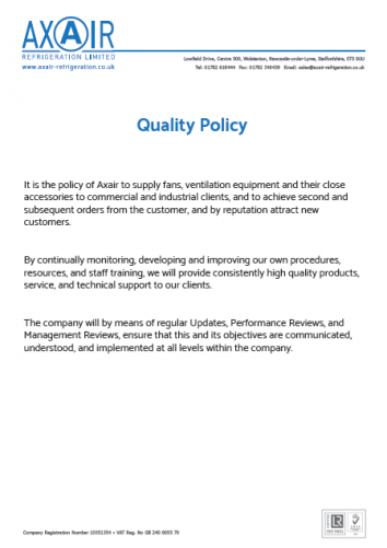 Quality Policy - Axair Refrigeration